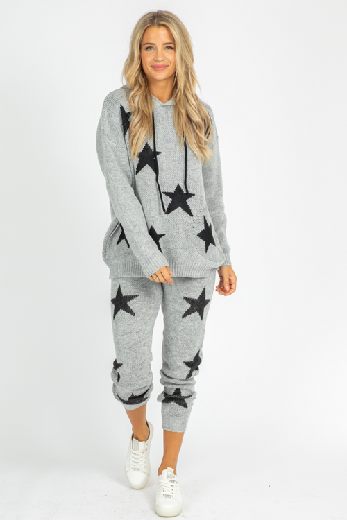 GREY + BLACK STAR KNIT JOGGERS