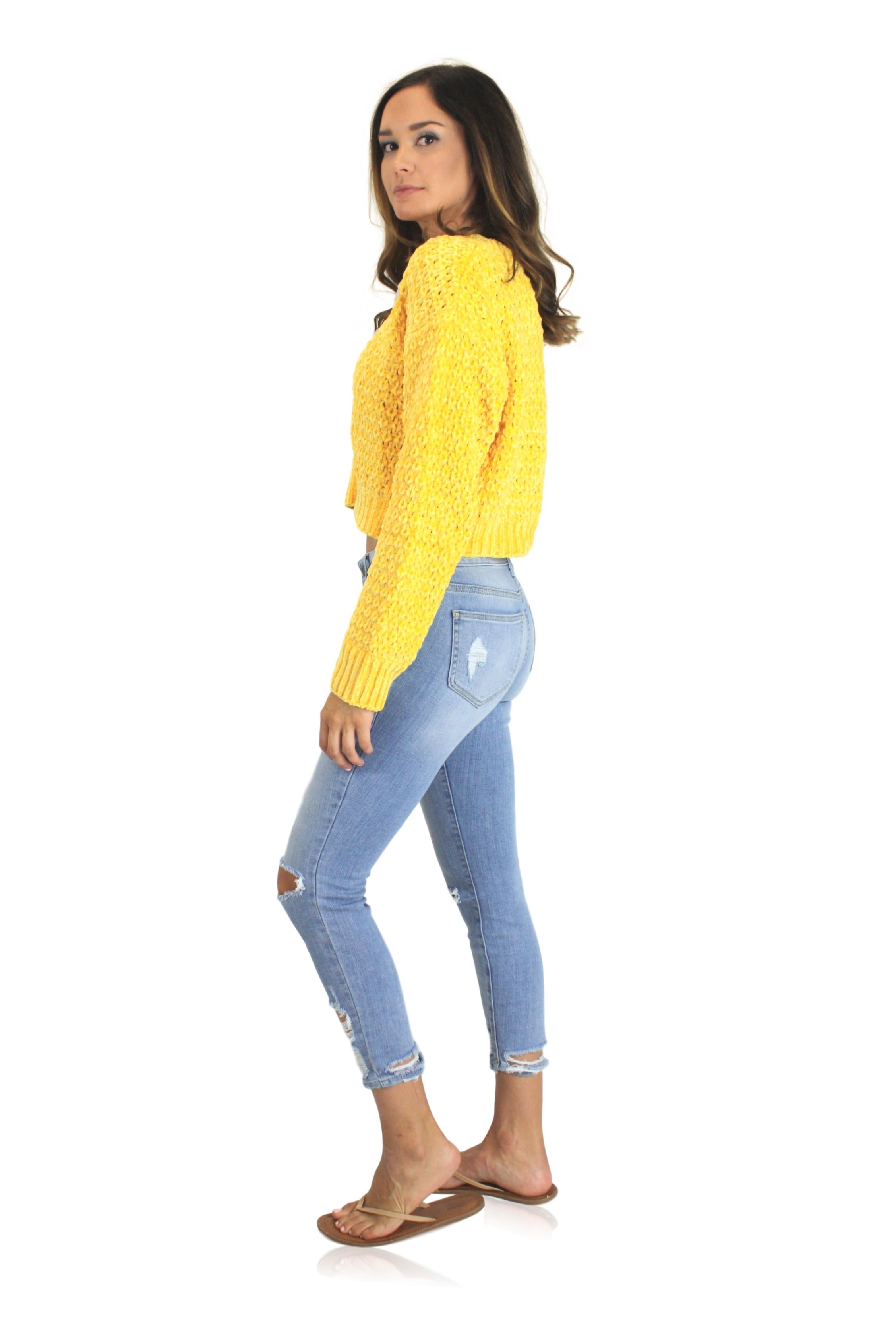 HONEY KNIT SWEATER IN YELLOW