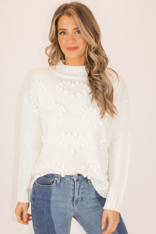 HEART POM DETAIL SWEATER