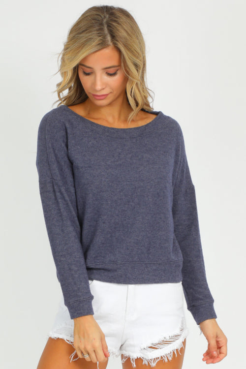 HEATHER NAVY BRUSHED PULLOVER