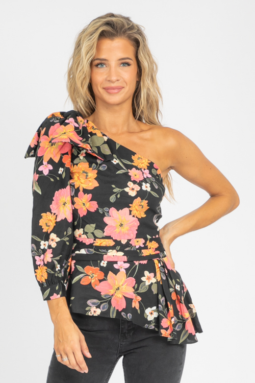 HIBISCUS ONE SHOULDER BLOUSE