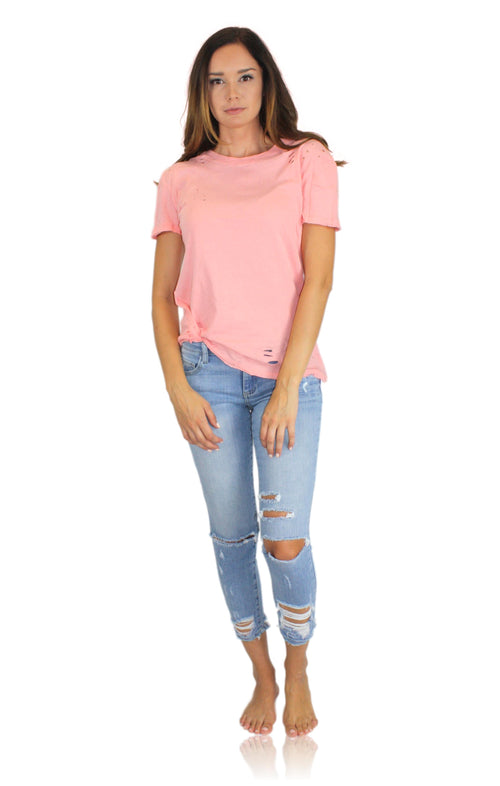 DISTRESSED TEE IN PEACH