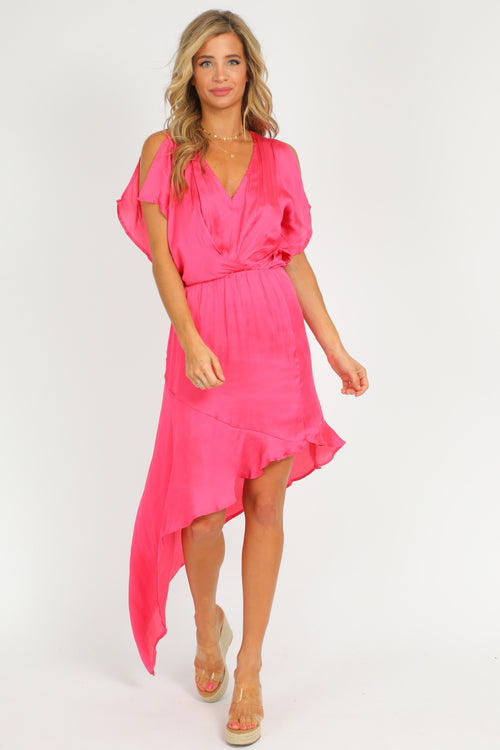 PINK ASYMMETRICAL DRESS