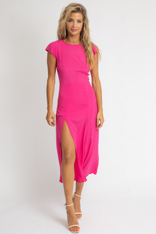 HOT PINK HIGH SLIT MIDI