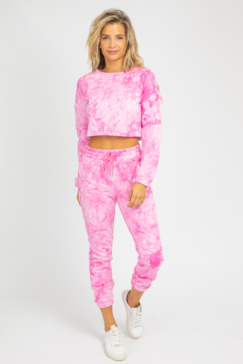 HOT PINK TIE-DYE LOUNGE SET