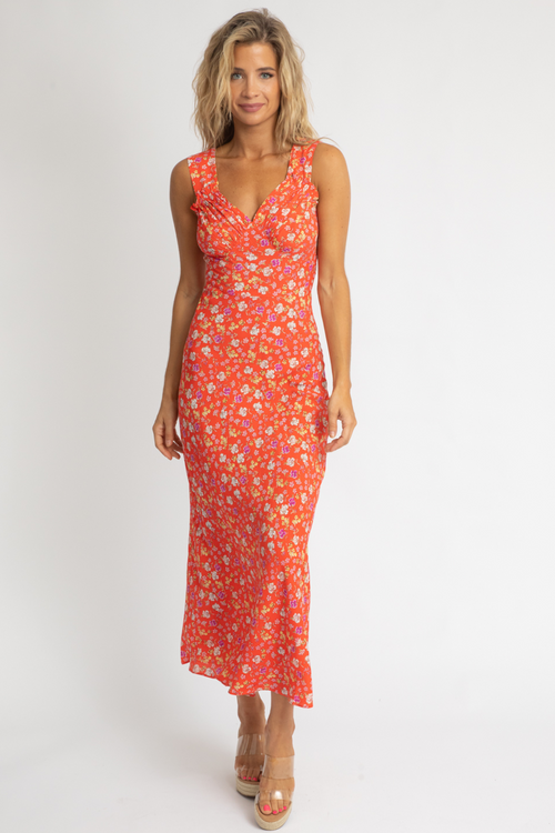 FIRE-RED FLORAL MAXI