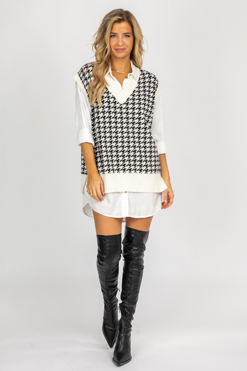 B+W HOUNDSTOOTH SWEATER VEST