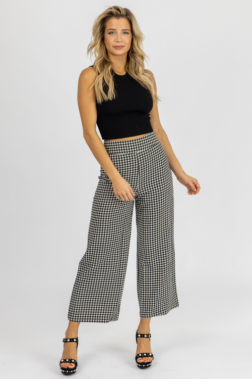 HOUNDSTOOTH WIDE LEG PANTS