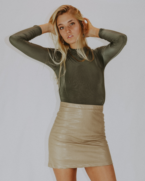 CAMEL VEGAN LEATHER SKIRT