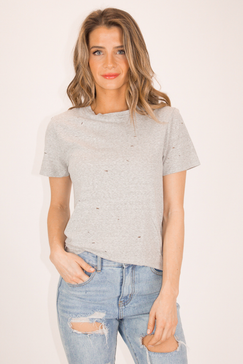 CUT IT TEE IN HEATHER GREY