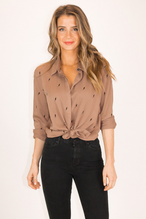 MOCHA LIGHTNING BOLT BUTTON UP