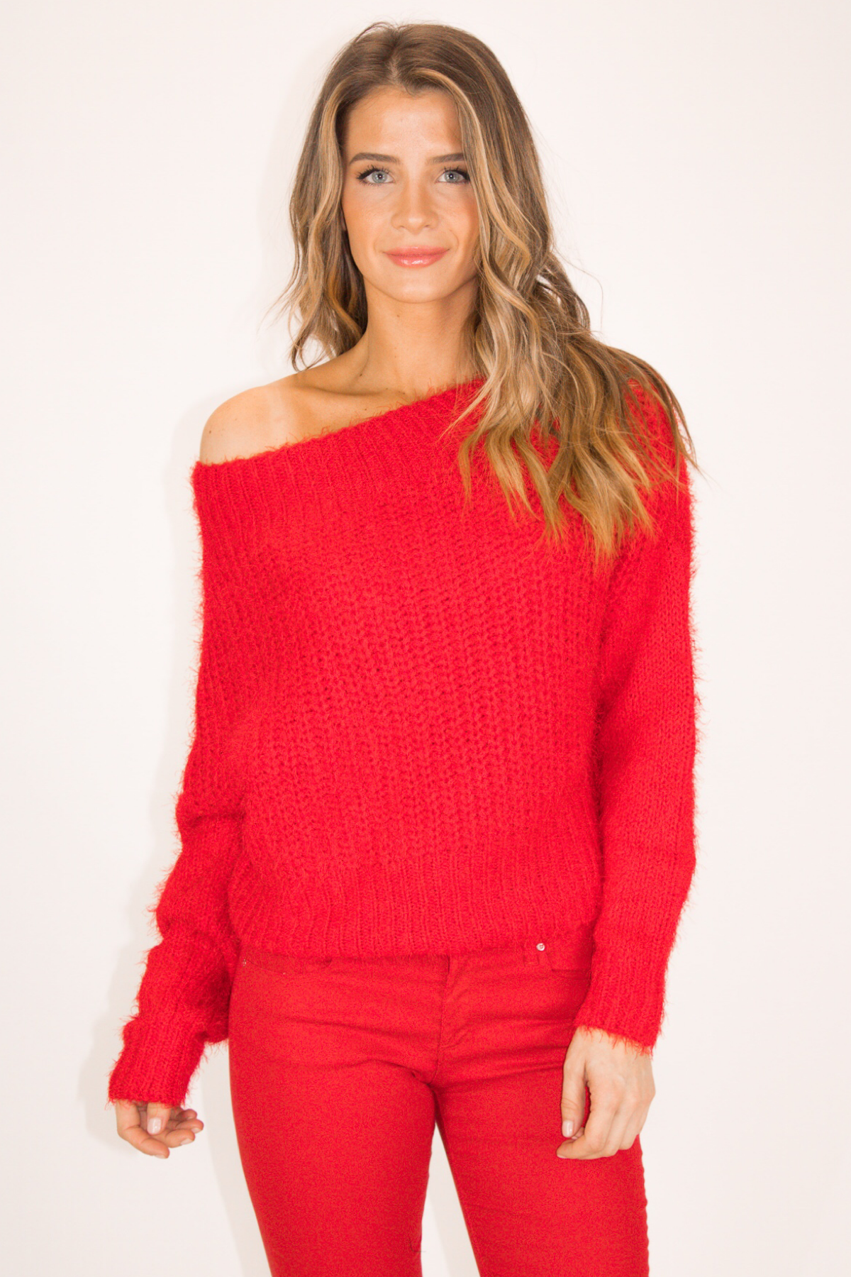 RED FUZZ SWEATER
