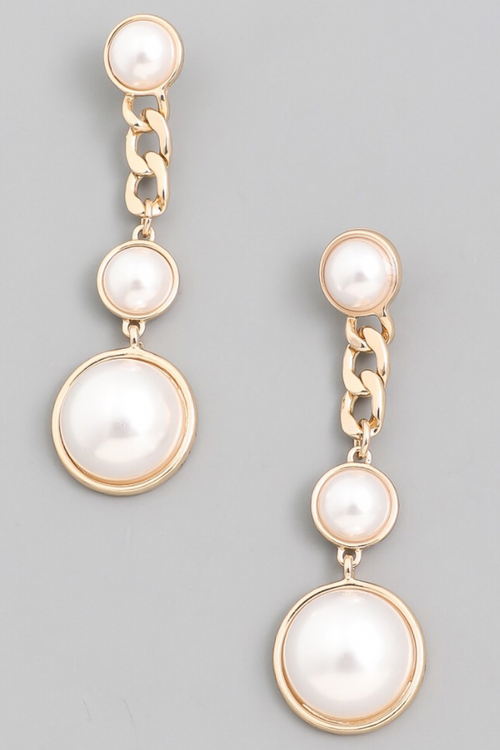 PEARL LINK DROP EARRINGS