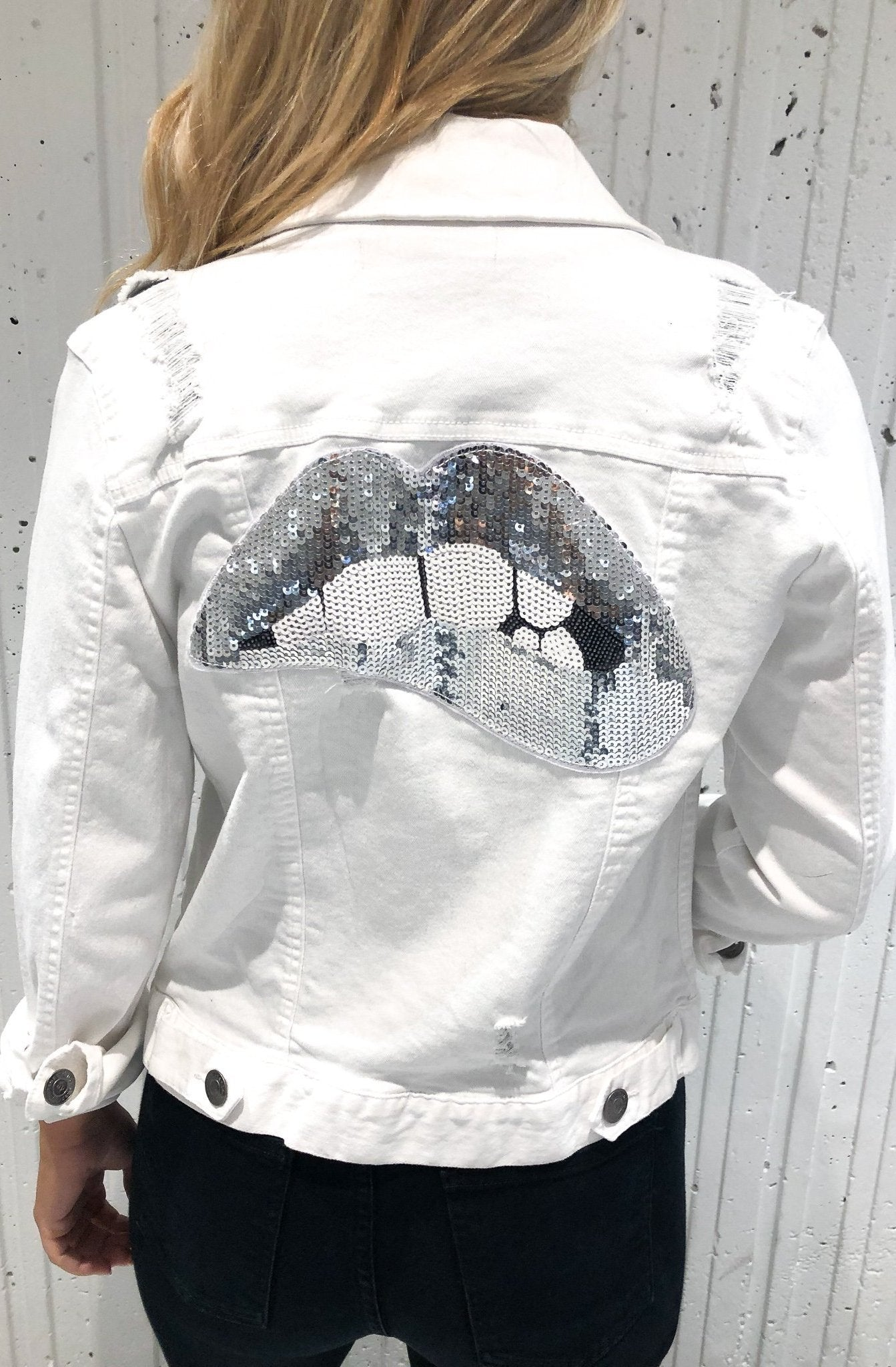 WHITE PATCHWORK DISTRESSED DENIM JACKET