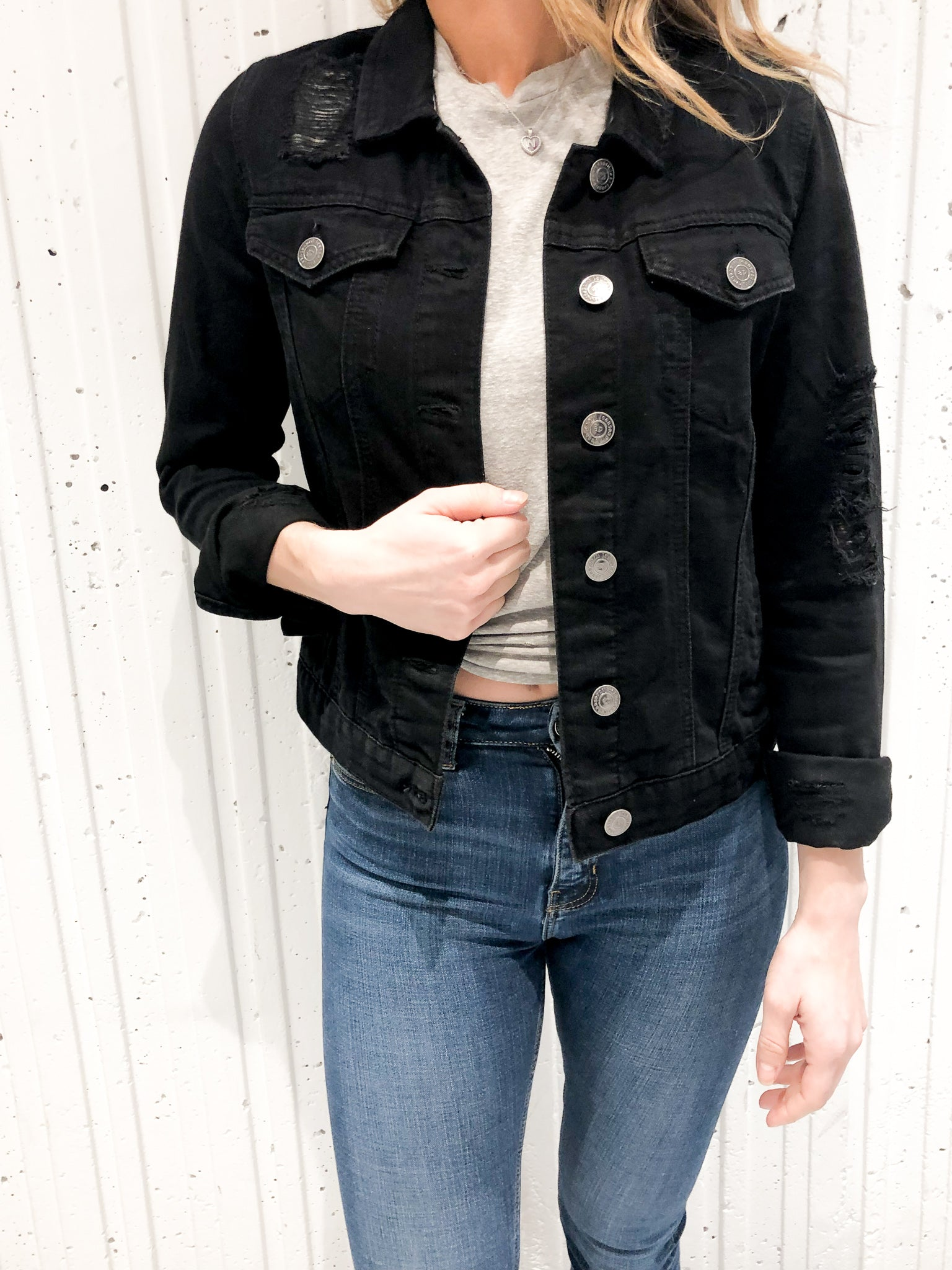 BLACK BACK STRIPE DISTRESSED JACKET