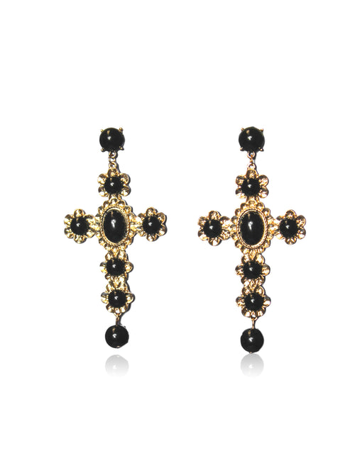 SANTANA CROSS EARRINGS IN BLACK