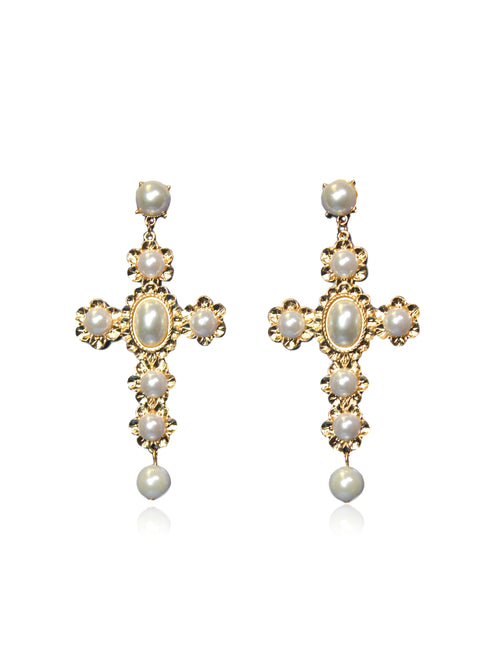 SANTANA CROSS EARRINGS IN CREAM