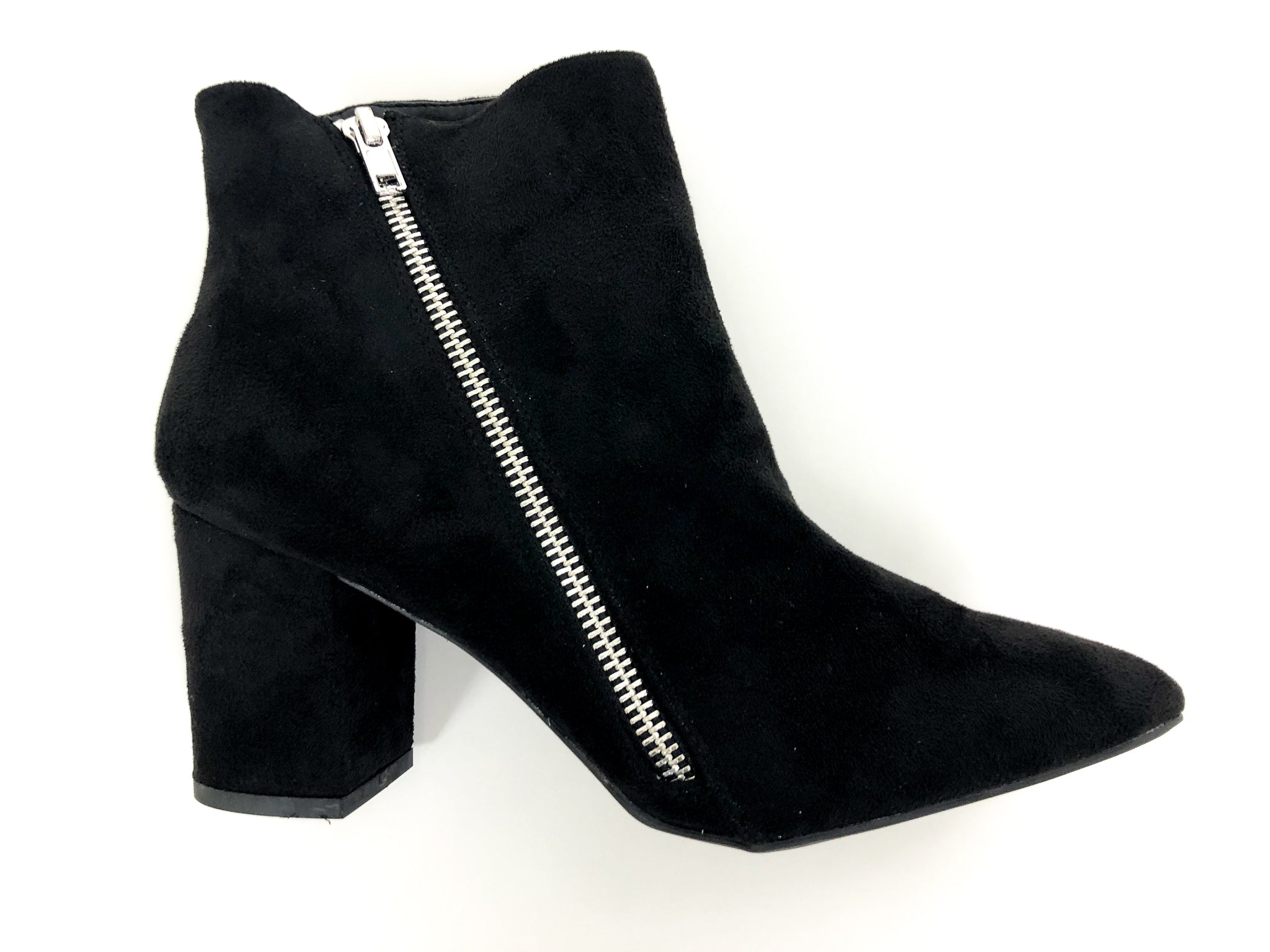 ZIPPERED SUEDE BLACK BOOTIES