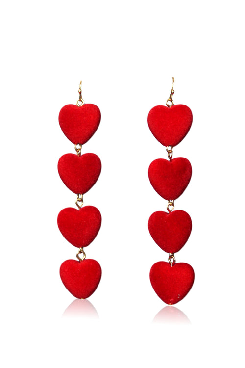 RED HEART DROP EARRING