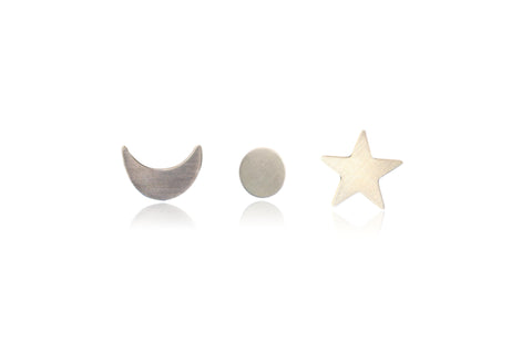 SUN STARS MOON STUDS IN GOLD