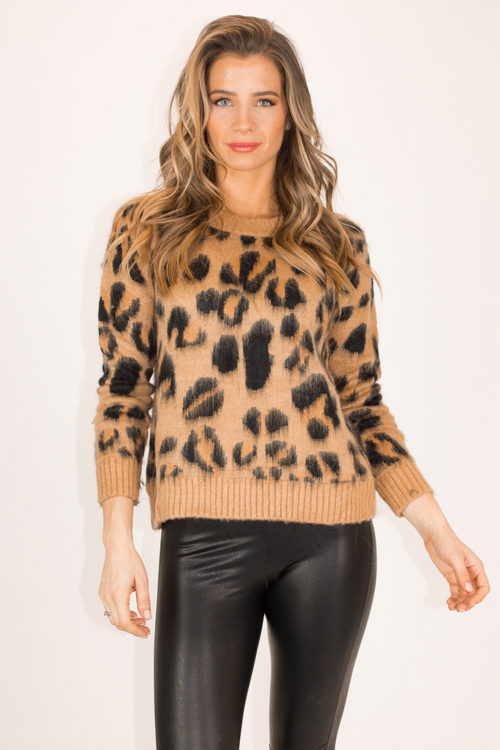 LEOPARD KNIT SWEATER IN CAMEL