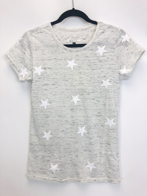 SOFT STAR TEE IN MARBLED LIGHT GREY