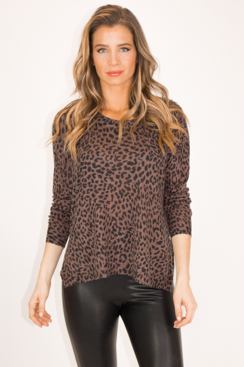 LEOPARD SIDE ZIP TOP
