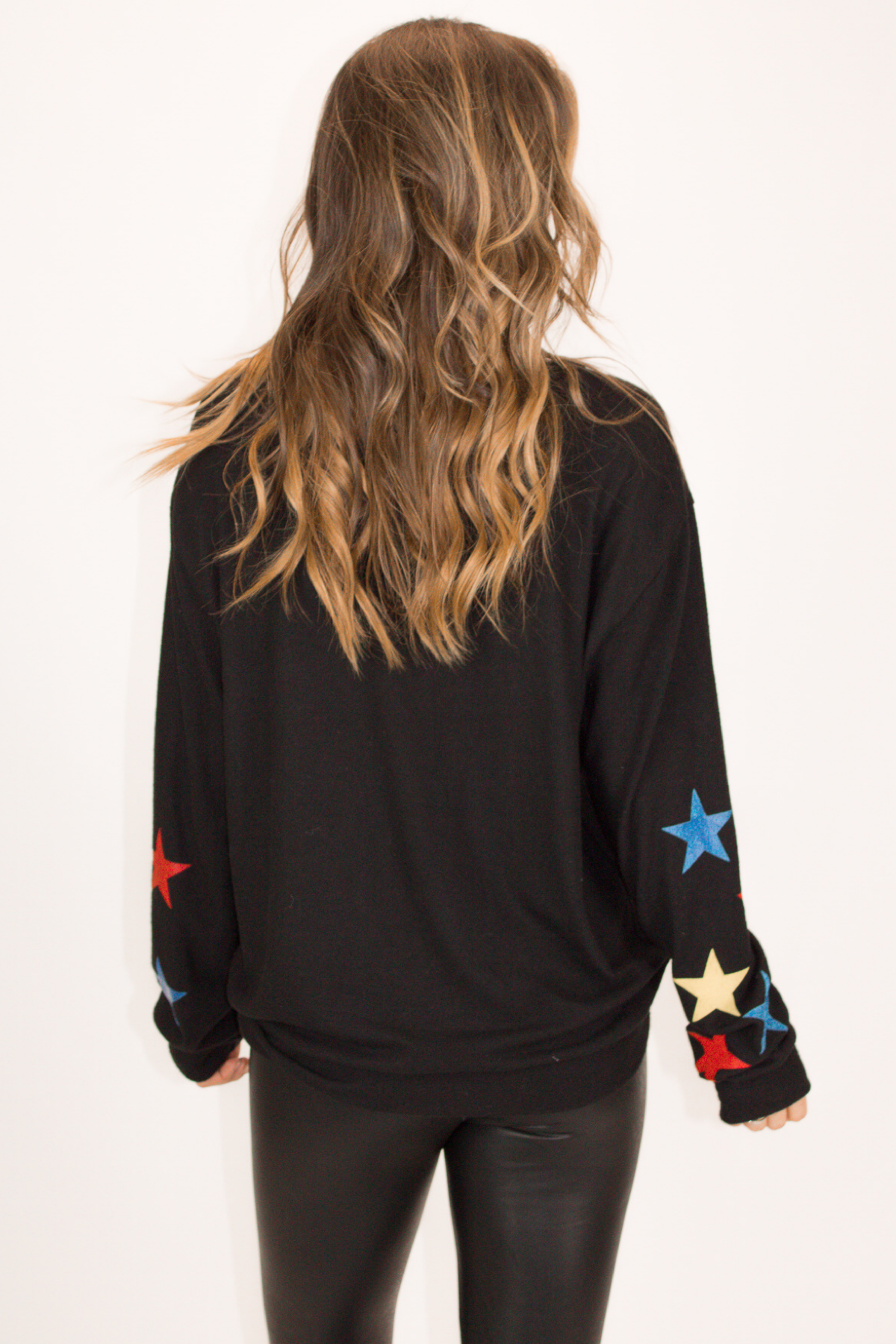 MULTICOLOR STAR SLEEVE PULLOVER IN BLACK
