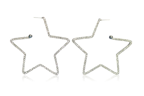 STAR-STUDDED HOOPS IN SILVER