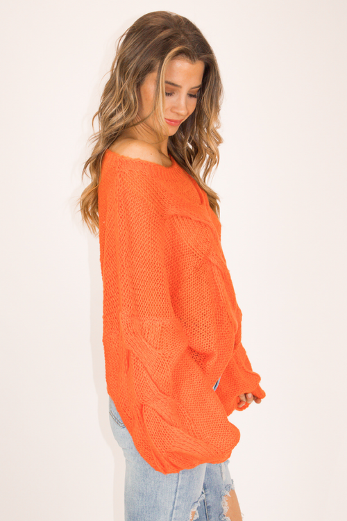 ORANGE LANTERN SLEEVE SWEATER