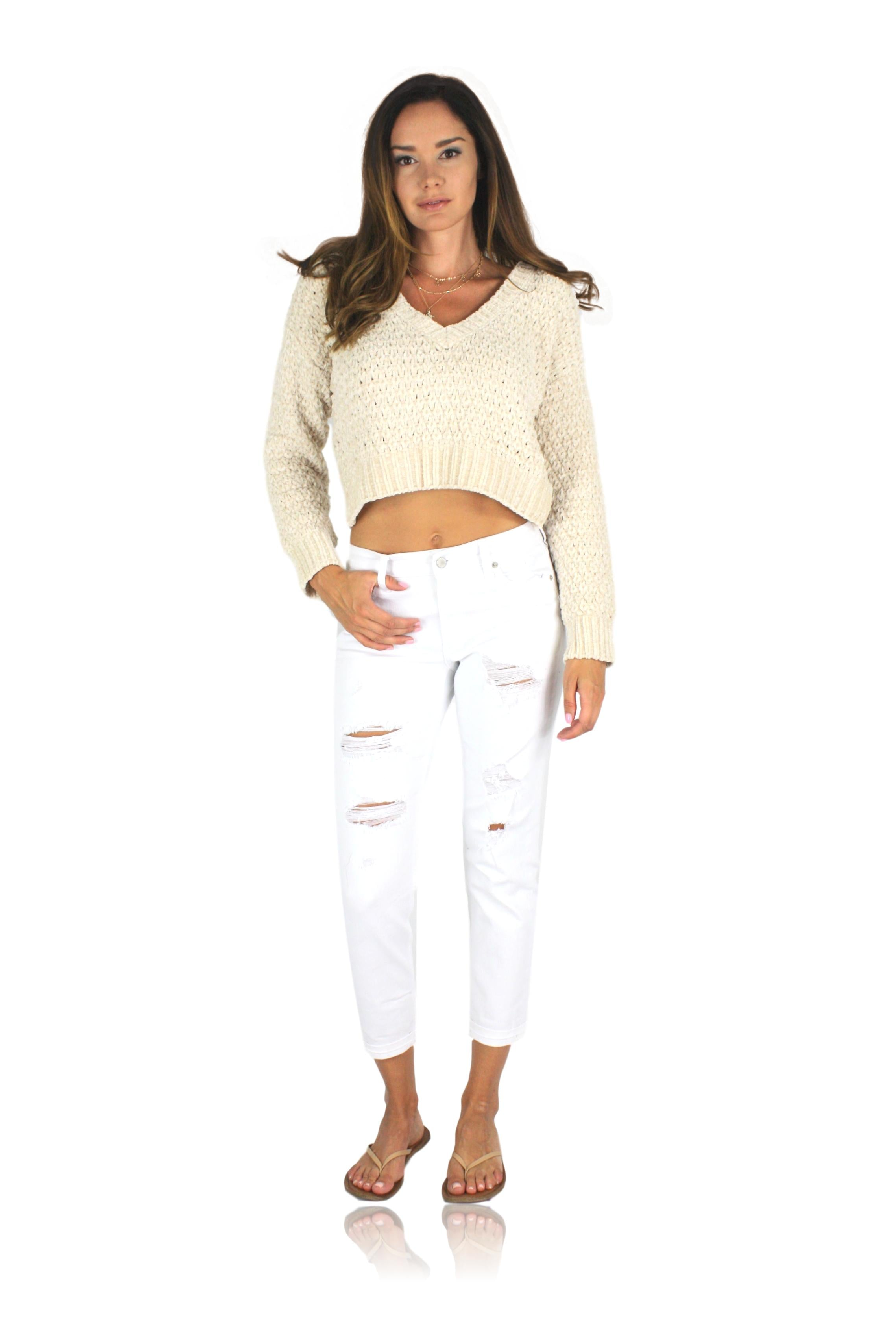 HONEY KNIT SWEATER IN CREME
