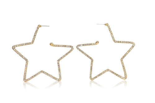 STAR-STUDDED HOOPS IN GOLD