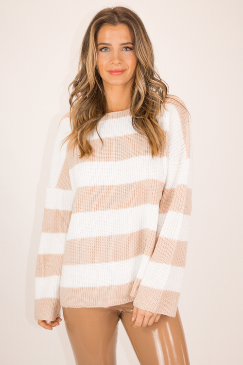 OATMEAL + IVORY STRIPED SWEATER