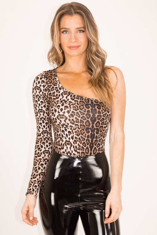 LEOPARD ONE SHOULDER BODYSUIT