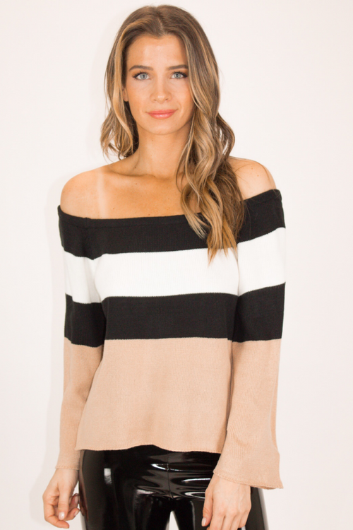 NEUTRAL STRIPE OFF SHOULDER SWEATER