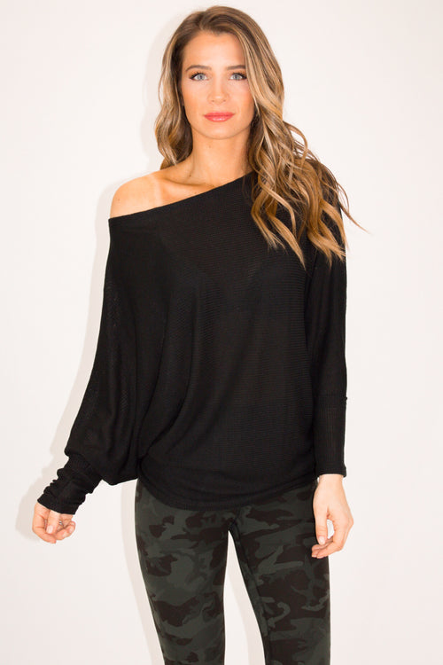 BLACK OFF SHOULDER COMFY KNIT