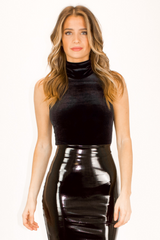 COMMANDO VELVET SLEEVELESS TURTLENECK BODYSUIT