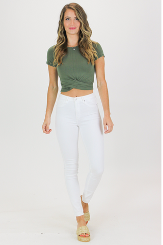 CROPPED HENLEY IN WHITE / FINAL CLEARANCE