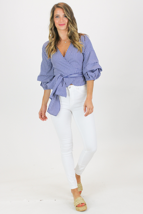 TIERED TIE NAVY GINGHAM BLOUSE