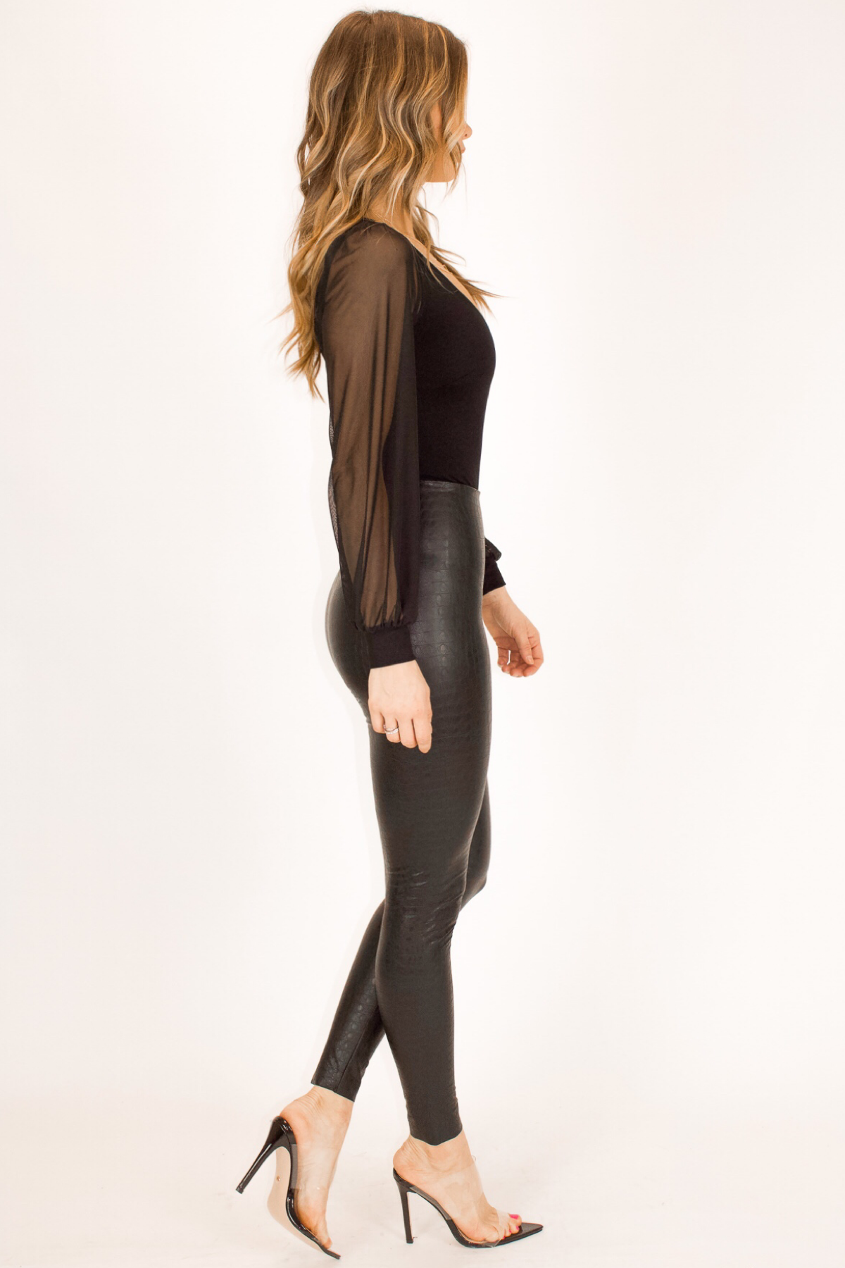 COMMANDO CONTROL BLACK FAUX LEATHER CROC LEGGING