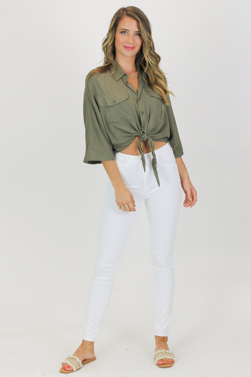 OLIVE BUTTON DOWN TIE CROP
