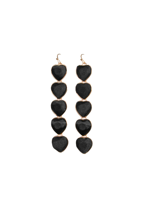 BLACK HEART DROP EARRING
