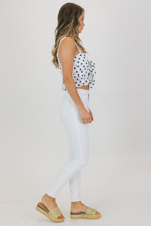 NAVY POLKA DOT FRONT TIE TOP