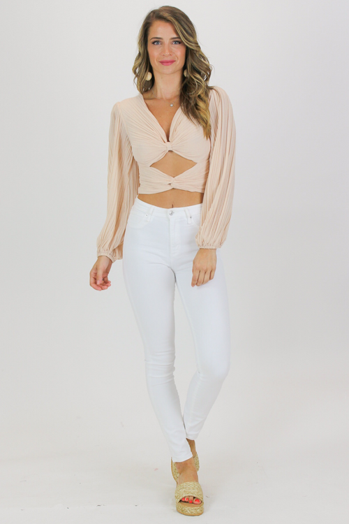 OPEN FRONT PLEATED CROP IN BLUSH