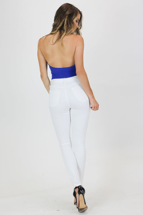 RIBBED V NECK OPEN BACK BODYSUIT IN BLUE / FINAL CLEARANCE