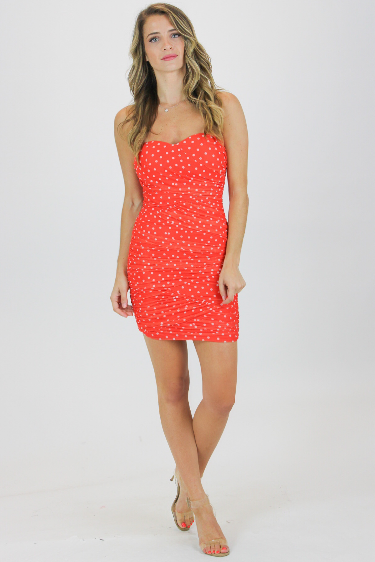 MESH POLKA DOT RUCHED MINI / FINAL CLEARANCE