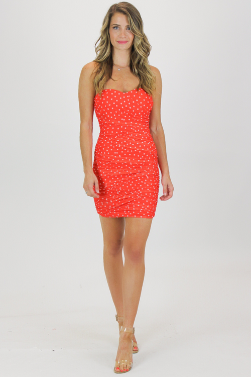MESH POLKA DOT RUCHED MINI