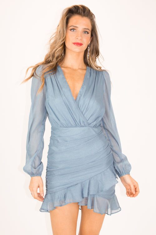 DUSTY BLUE SHIRRING DRESS