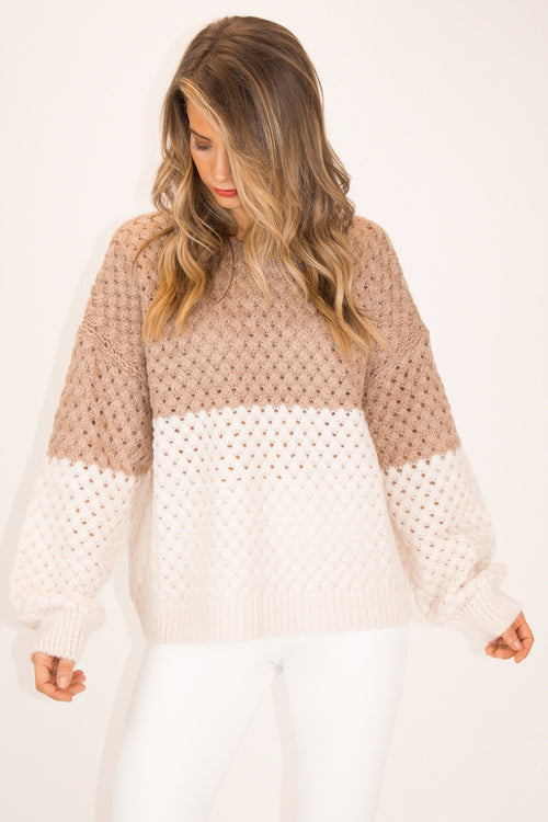 MOCHA + CREAM COLOR BLOCK SWEATER