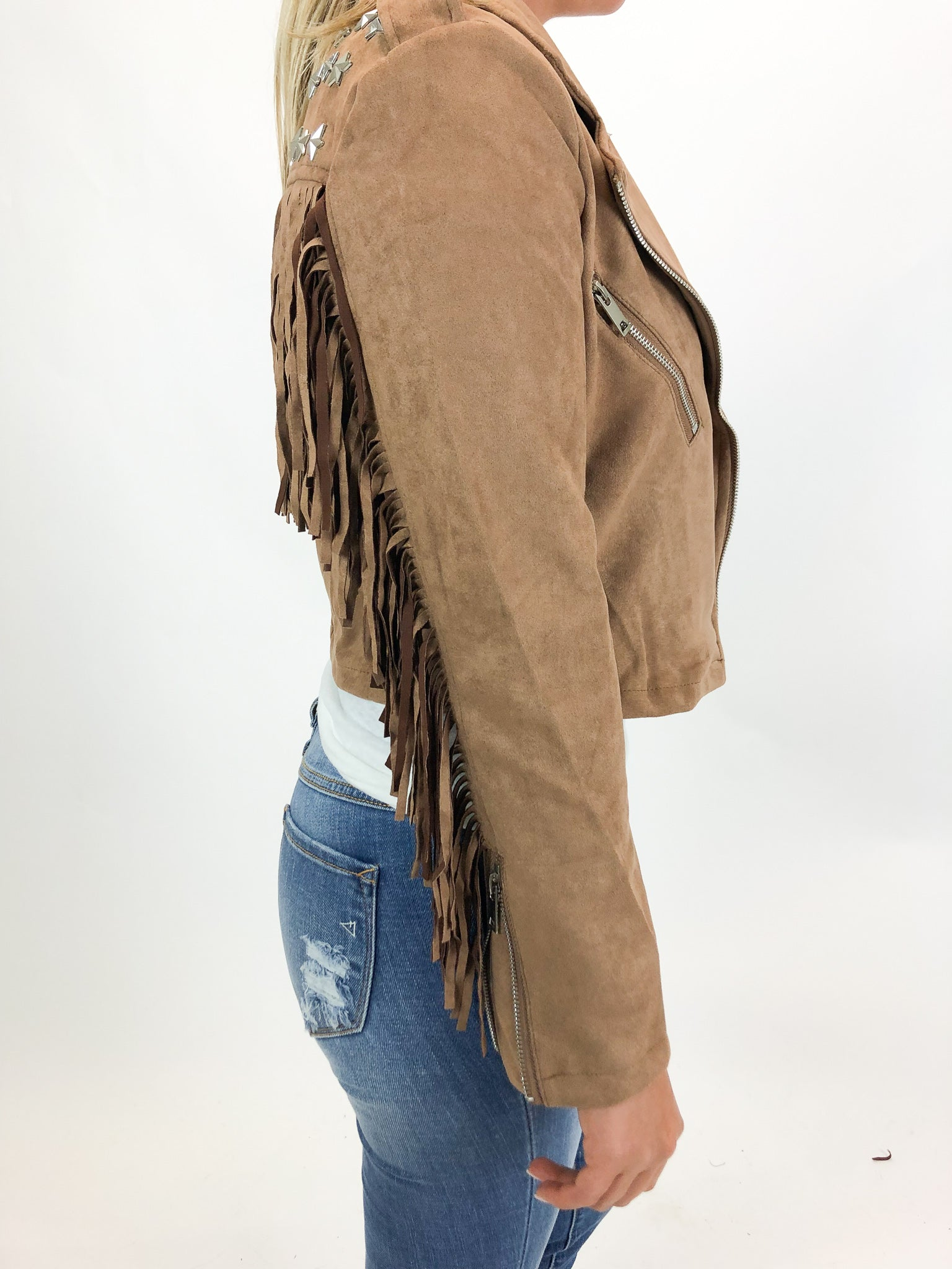 WESTERN FRINGE + STUDDED JACKET IN BROWN